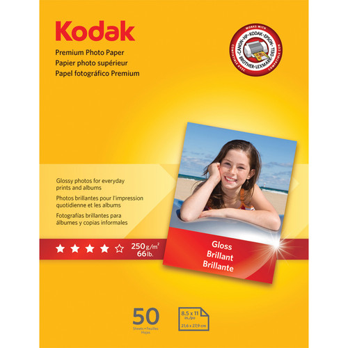 "Kodak Premium Photo Paper (Gloss) - 8.5x11"" - 50 Sheets"