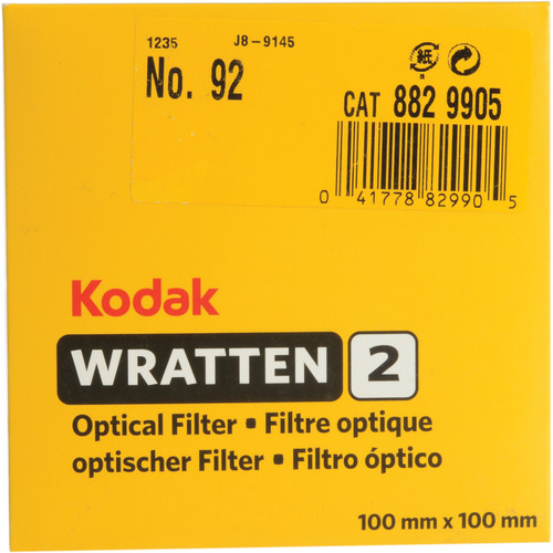 "Kodak 4 x 4"" (100mm) #92 Red Special Color Effect Wratten 2 Gel Filter"