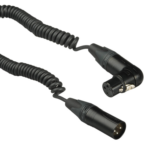 Kopul Coiled 3-Pin XLR-M to Angled 3-Pin XLR-F Cable - 1.5 to 5' (0.45 to 1.2 m), Black