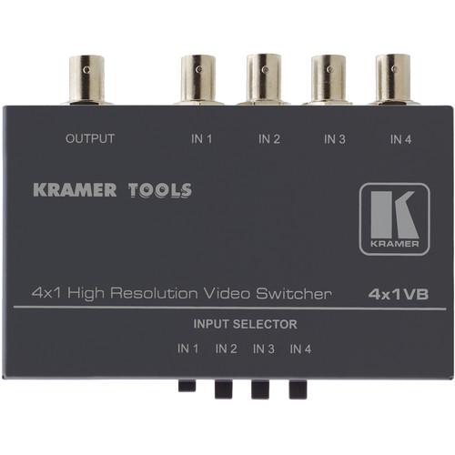 Kramer 4X1VB Mechanical Video Switcher, 4x1, Composite (BNC), Mini Series