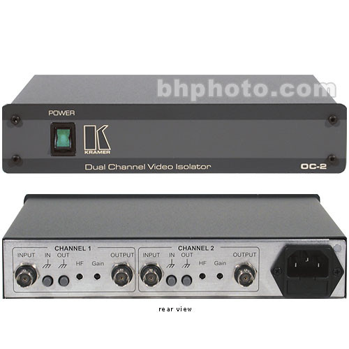Kramer OC-2 Dual Channel Video Optical Line Isolator - 120 VAC, Composite BNC