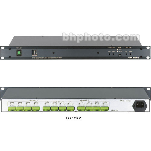 Kramer CVG-1610 Distribution Amplifier, 1x10, Stereo Balanced Audio