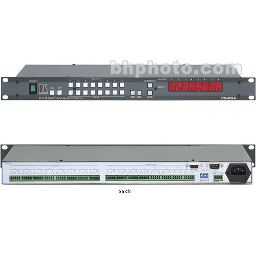 Kramer VS-88A Audio Distribution Amplifier - 8x8, Balanced Stereo Audio, RS-232/485, Rackmountable