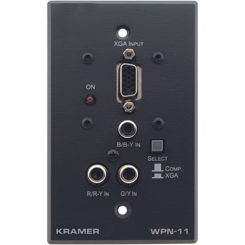 Kramer WPN-11-WHITE Active Wall Plate 15-Pin HD & 3 RCA Transmitter (White)