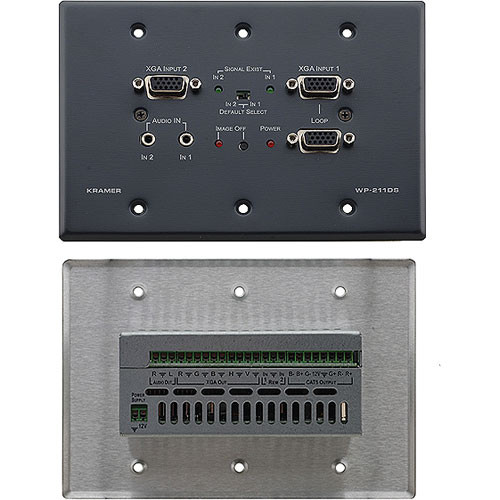 Kramer WP-211DS 2x1 Computer Graphics & Stereo Audio Standby Switcher, Twisted Pair Transmitter & Wall Plate