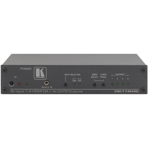 Kramer 2-Input 1:4 HDMI Twisted Pair Transmitter & Distribution Amplifier
