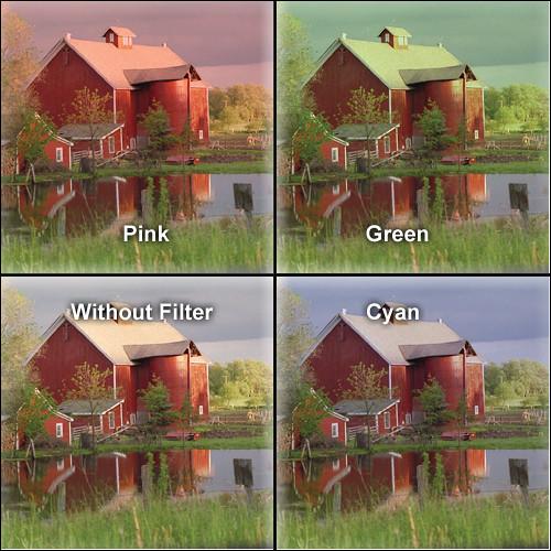 "LEE Filters 4x6"" Pale Tint Resin Filter Set (Graduated - Hard Edge Pink 1, Cyan 1 & Green 1)"