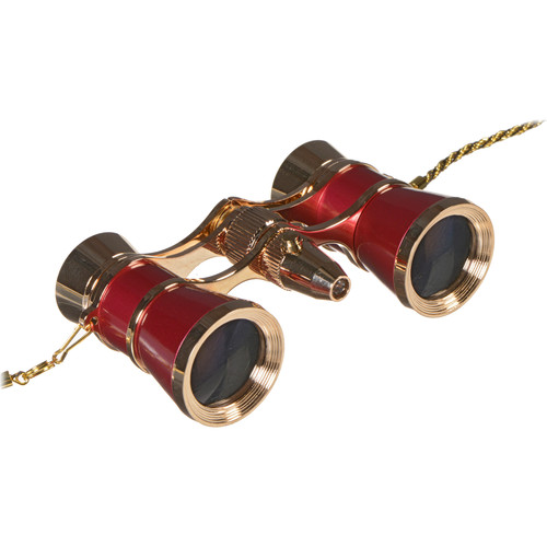 LaScala Optics 3x25 Carmen Opera Glasses with Red LED Flashlight (Burgundy / Gold)