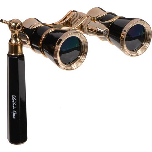 LaScala Optics 3x25 Iolanta Opera Glasses with Flashlight (Black and Gold)