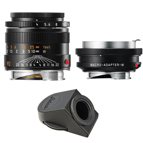 Leica Macro-Elmar-M 90mm f/4 Lens Set with Macro-Adapter and Angle Viewfinder