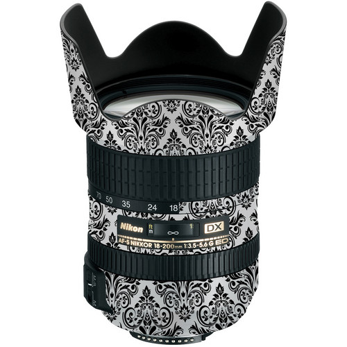 LensSkins Lens Wrap for Nikon 18-200mm f/3.5-5.6G (BW Damask)