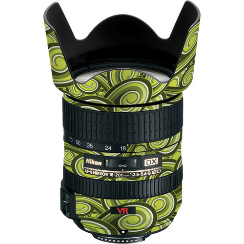LensSkins Lens Skin for the Nikon 18-200mm f/3.5-5.6G AF-S IF-ED DX VR Lens (Green Swirl)