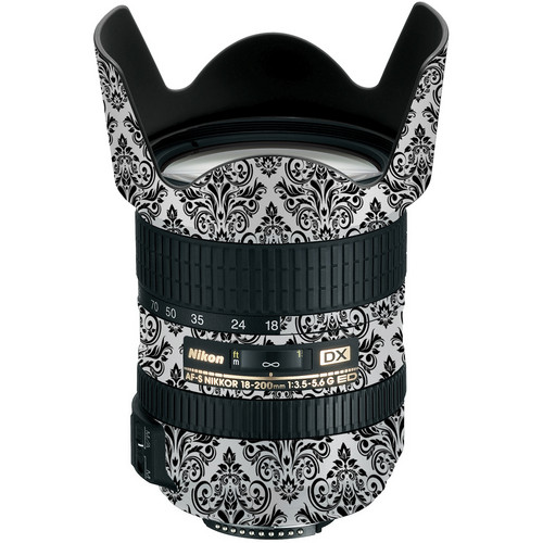 LensSkins Lens Wrap for Nikon 18-200mm f/3.5-5.6G II (BW Damask)
