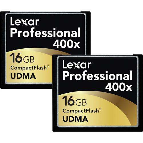 Lexar 16GB CompactFlash Memory Card Professional 400x UDMA - 2 Pack