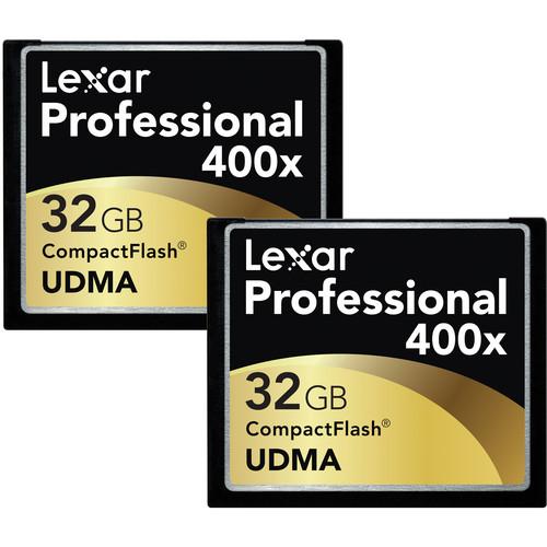 Lexar 32GB CompactFlash Memory Card Professional 400x UDMA - 2 Pack