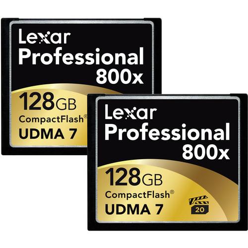 Lexar 128GB CompactFlash Memory Card Professional 800x - 2-Pack