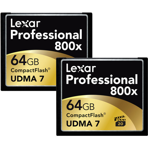 Lexar 64GB CompactFlash Memory Card Professional 800x - 2-Pack