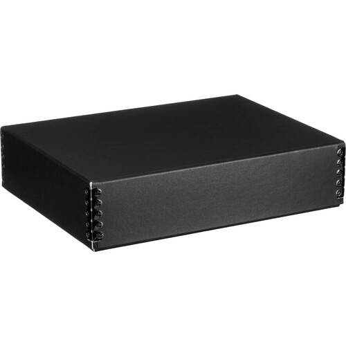 "Lineco 733-2009 Museum Quality Drop-Front Storage Box (9.5 x 12.5 x 3"", Black with White Interior)"