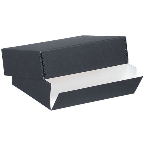 """Lineco 733-2014 Museum Quality Drop-Front Storage Box (14.5 x 18.5 x 3"""", Black with White Interior)"""