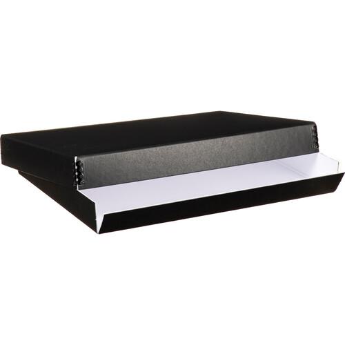 "Lineco 733-2109 Museum Quality Drop-Front Storage Box (9.5 x 12.5 x 1.5"", Black White)"