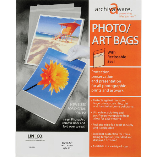 "Lineco Self-Sealing Photo / Art Bag (16 x 20"", 50-Pack)"