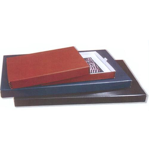University Products Digital Black Leather Portfolio Box (White Moiree Interior)