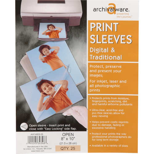 """Lineco Print Sleeves with Locking Side Flap (8x10"""", 25-Pack)"""