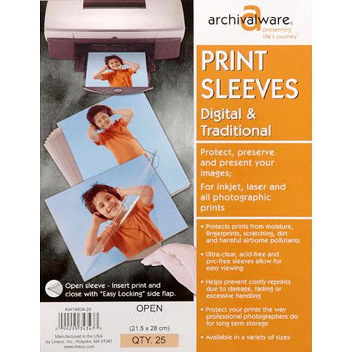 "Lineco Print Sleeves with Locking Side Flap (11x14"", 25-Pack)"
