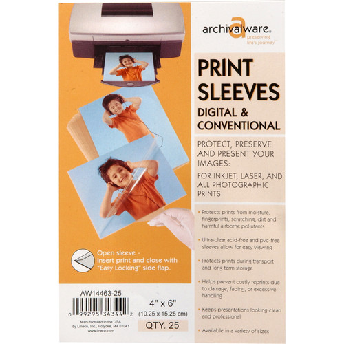 "Lineco Archivalware Polypropylene Sleeve - 4 x 6"" - Clear - Open"