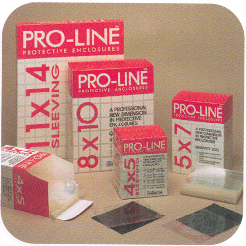 "Lineco Proline Sheet Film Sleeve - 5 x 7"" - Clear/Open Flap - 200 Pack"