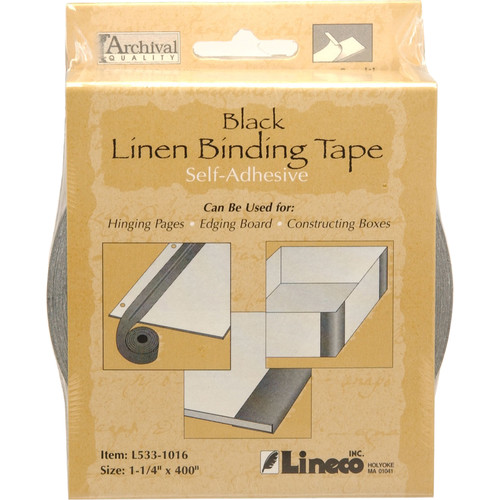 "Lineco Linen Tape - Self-Adhesive - Black - 1.25"" x 400"""