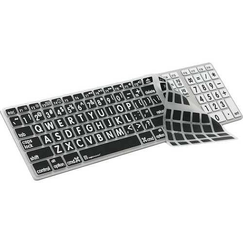 LogicKeyboard XLPrint LogicSkin Transparent Keyboard Cover with Large Print for Apple Ultra Thin Aluminum Keyboard (White on Black)