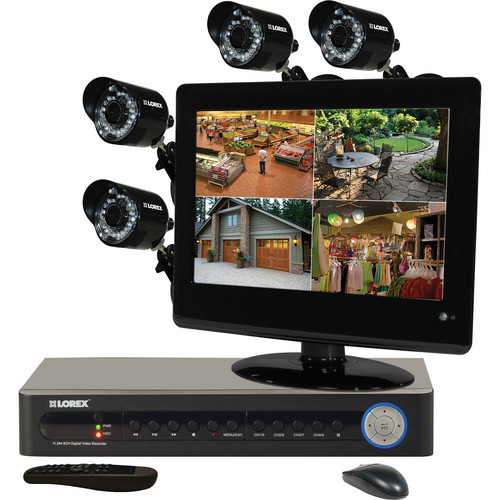 "Lorex by FLIR Security Camera System with 4 Cameras / 8-Channel DVR / 13.3"" Monitor"