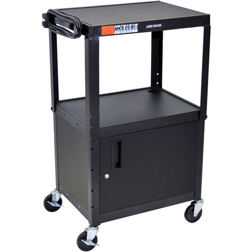 Luxor Adjustable Height Steel A/V Cart With Cabinet (Black)