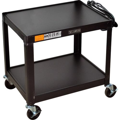 """Luxor 26"""" FIXED HEIGHT AV TABLE w/ELECTRC (BLACK)"""