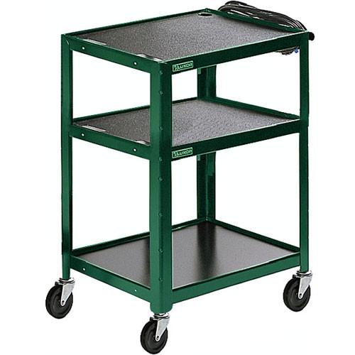 Luxor Steel Adjustable Height AV Cart with Three Shelves (Green)
