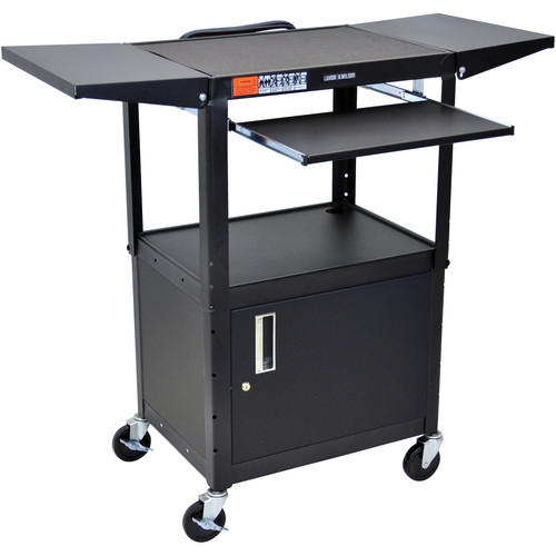 Luxor Adjustable Height Steel A/V Cart with Keyboard Shelf, Drop Leaf Shelves, and Cabinet (Black)