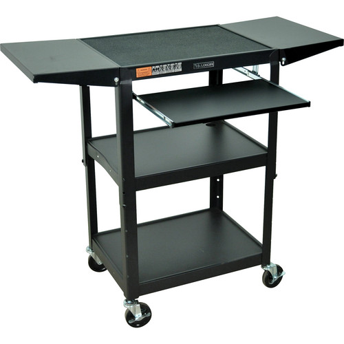 Luxor Adjustable Height Steel A/V Cart with Keyboard Shelf and Drop Leaf Shelves (Black)
