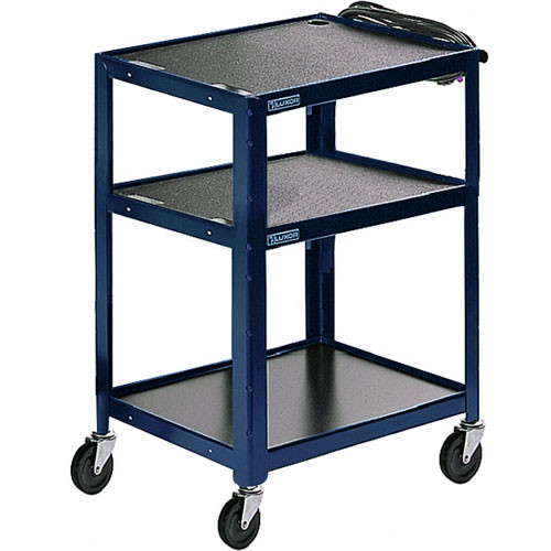 Luxor Steel Adjustable Height AV Cart with Three Shelves (Royal Blue)