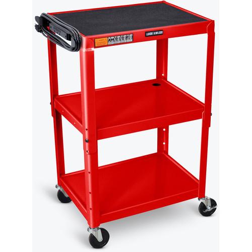 Luxor Steel Adjustable Height AV Cart with Three Shelves (Red)