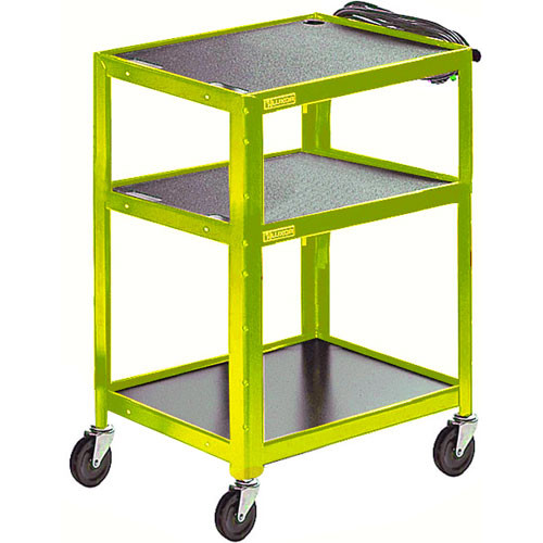 Luxor Steel Adjustable Height AV Cart with Three Shelves (Yellow)