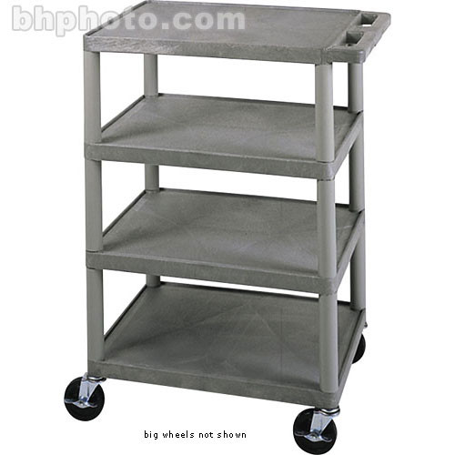 Luxor BCB45G 4-Shelf Banquet Cart with Big Wheels (Gray)