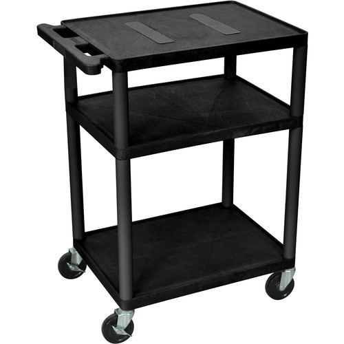 "Luxor 34"" Endura 3-Shelf Multimedia Cart With Electrical Outlet - Black"