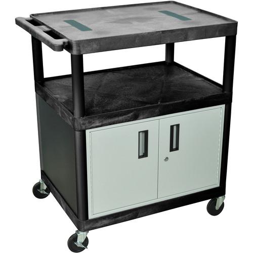 "Luxor 40"" ENDURA AV TABLE w/CABINET/ELECTRC (BLACK/GRY)"