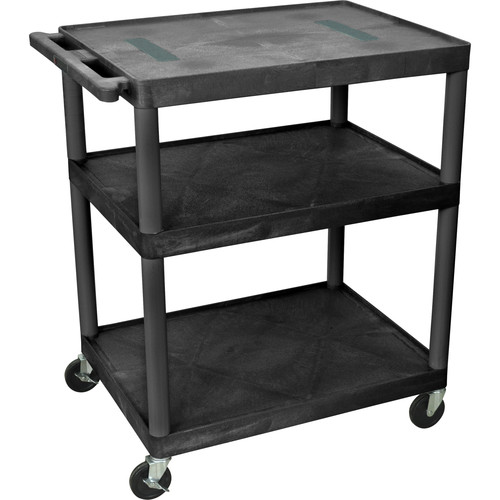 "Luxor 40"" Endura 3-Shelf Multimedia Cart with 3 Outlets - Black"