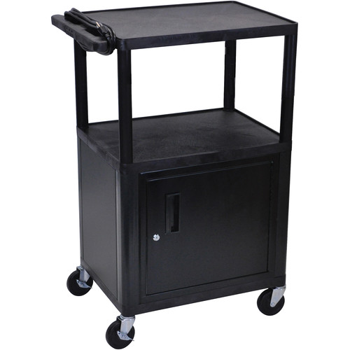 """Luxor 42"""" Endura Table With Storage Cabinet (Black/Gray)"""