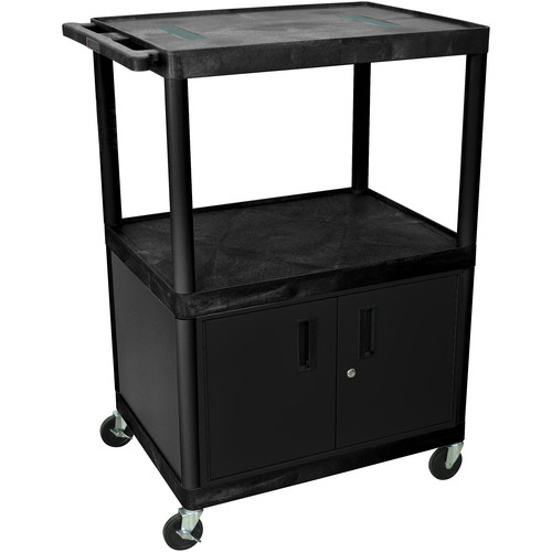 "Luxor 48"" Endura 3-Shelf Endura Cart with 3 Outlets & Cabinet - Black/Gray"