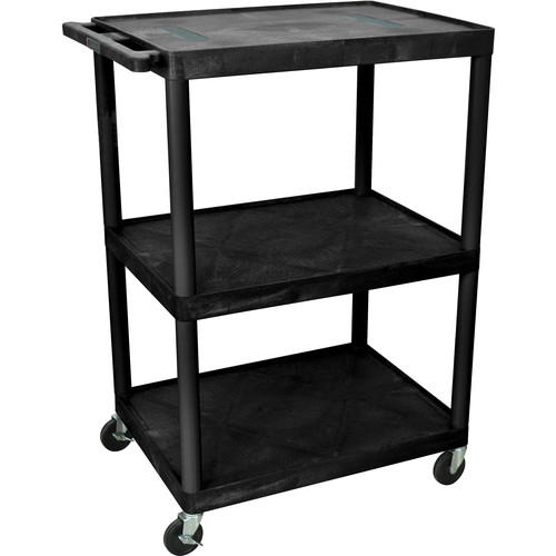 "Luxor 48"" Endura 3-Shelf Multimedia Cart with 3 Outlets - Black"