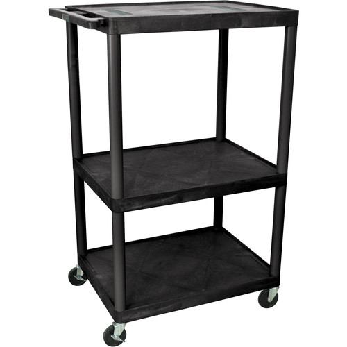 "Luxor 54"" Endura 3-Shelf Multimedia Cart with 3 Outlets - Black"