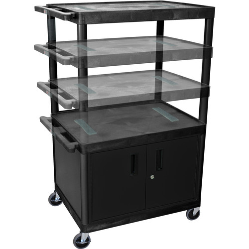 Luxor MULTI HEIGHT ENDURA AV TABLE w/CBNT/ELEC (BLK/GRY)